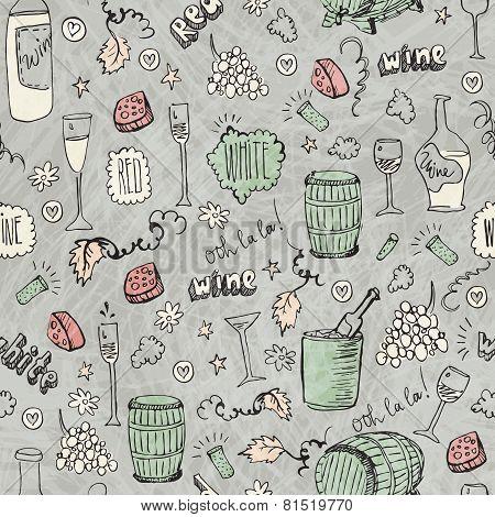 Wine sketch vintage seamless illustration
