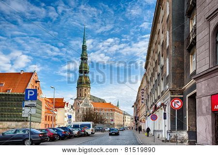 Saint Peters Church At Riga Old Town