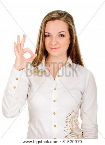 young lady indicating ok sign