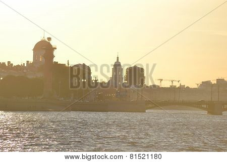 View Of Center Of St.petersburg At Sunset.