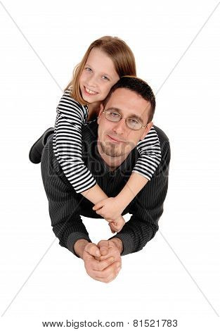 Daughter Piggyback On Dad.