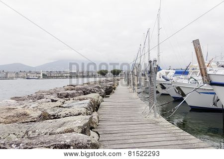 Beauty Yachts On Lake Geneva In Geneva, October 8, 2013