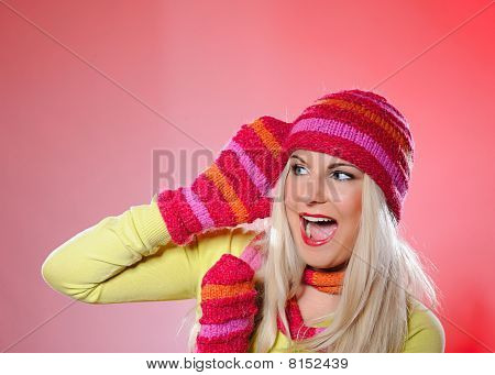 Seasonal Portrait Of Pretty Funny Woman In Hat And Gloves Screaming