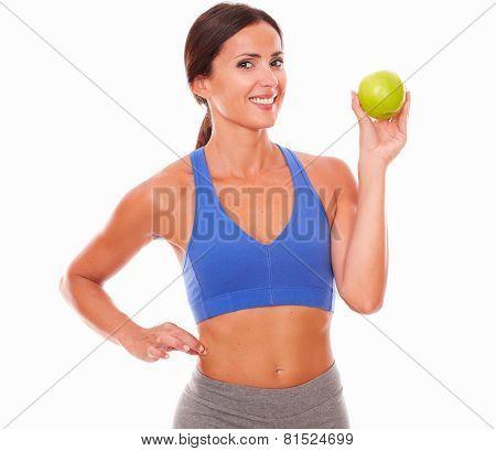 Slim Adult Woman Holding Apple On Left Hand
