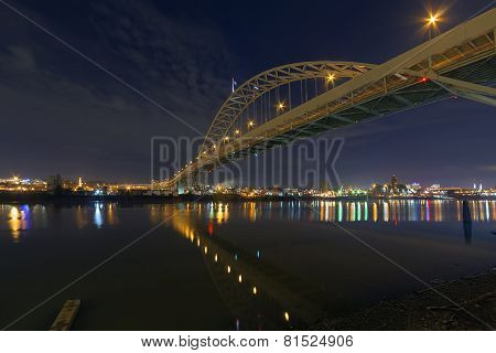 Fremont Bridge Over Willamette River At Night