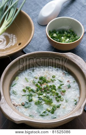 Rice Soup With Pork And Green Onions