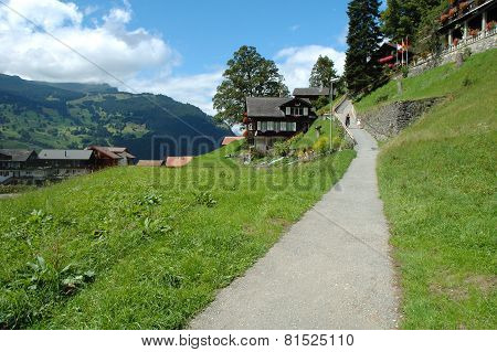Narrow Footpath In Grindelwald In Switzerland