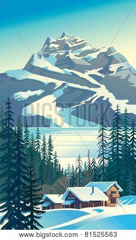 Vector winter landscape. Mountain tourist base.