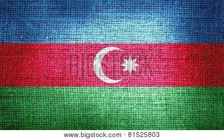 Azerbaijan flag on burlap fabric