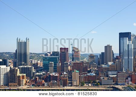 Pittsburgh Pennsylvania USA skyline panorama of business buildings