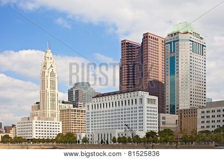 Columbus Ohio USA skyline of business buildings