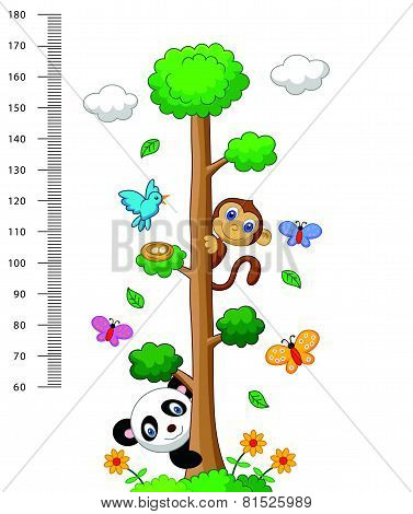 Wall meter with three and wild animals cartoon