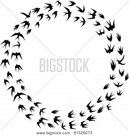 Cartoon Swallow silhouette in circle frame