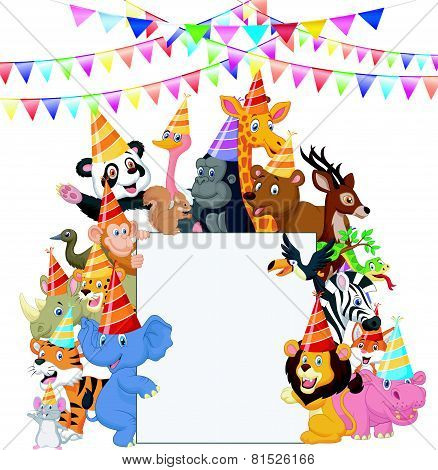 Safari Animals cartoon Wearing Party Hats