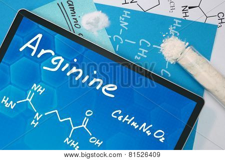 Tablet with the chemical formula of Arginine