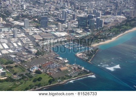 Aerial View Of Kewalo Basin Harbor, Kakaako, Ala Moana Beach Park In Honolulu