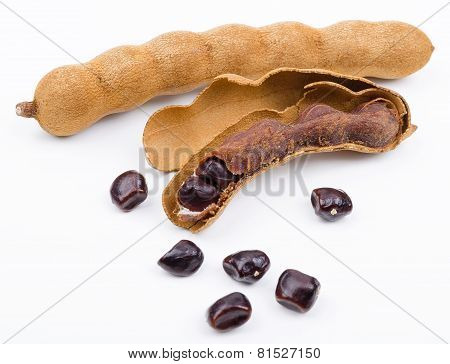 Dried Tamarind Fruits With Seeds On White Background