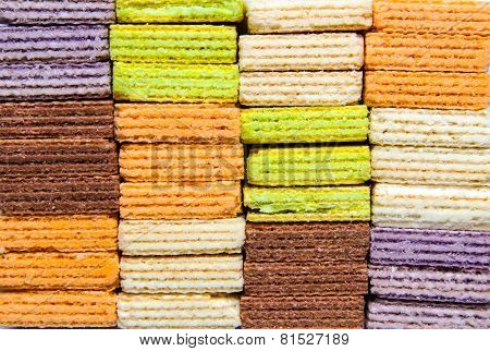 Multi Color Wafer On White Background