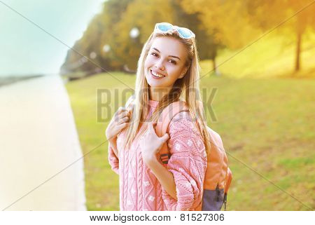Fashion Portrait Pretty Hipster Smiling Girl Having Fun Outdoors