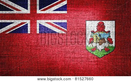 Bermuda flag on burlap fabric