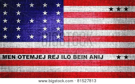 Bikini Atoll flag on burlap fabric