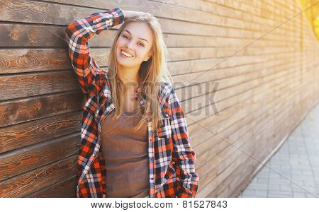 Pretty Smiling Woman In Smart Clothes Outdoors In Summer Day