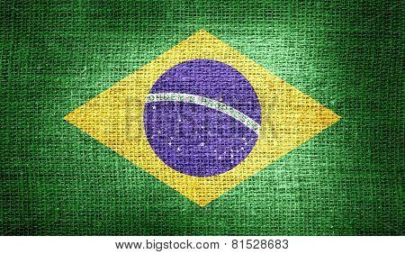Brazil flag on burlap fabric