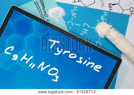 Tablet with the chemical formula of  Tyrosine