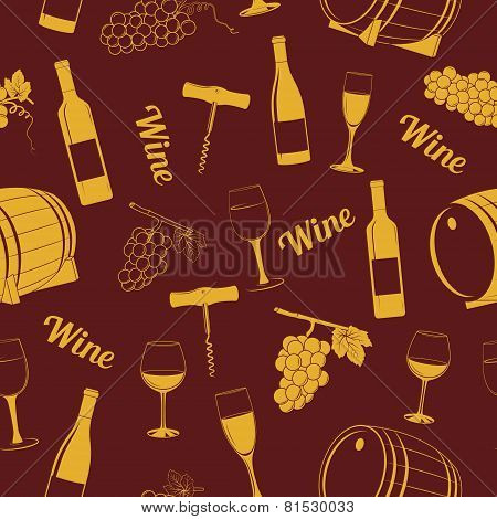 Seamless pattern with winesimbols