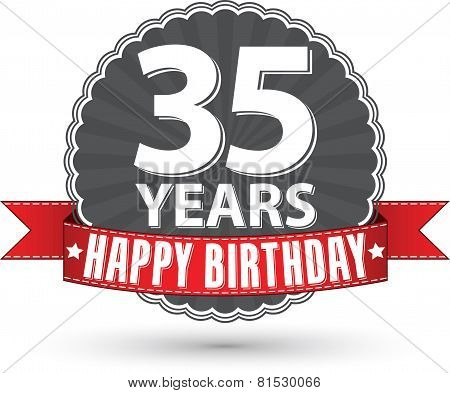 Happy birthday 35 years retro label with red ribbon, vector illustration