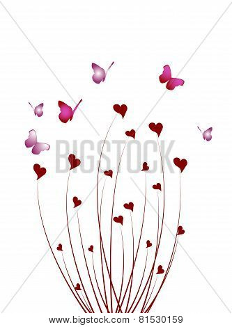 Abstract Butterfly Bush Of Hearts