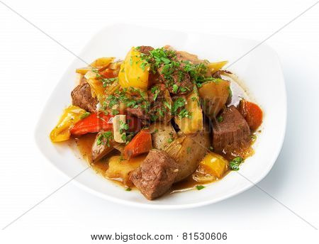 Restaurant Food Isolated - Beef Stew With Green Parsley