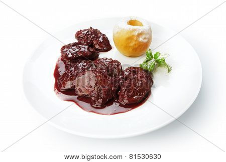 Restaurant Food Isolated - Chicken Liver In Pomegranate Sauce
