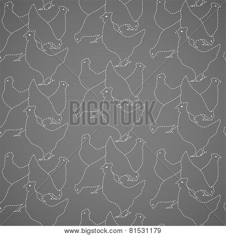 Chickens seamless vector pattern