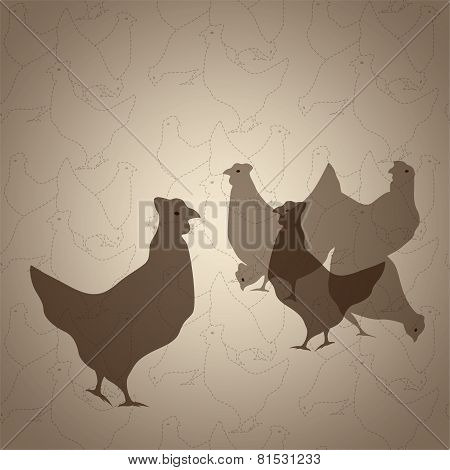 Chickens seamless vector background