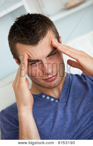Depressed Man Having A Headache