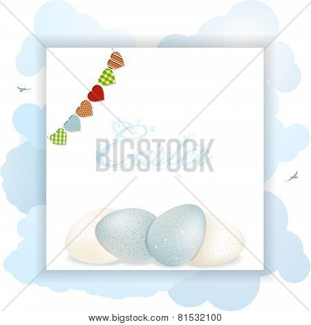 Easter speckled eggs on panel