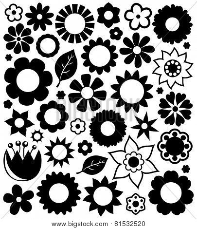 Flower silhouettes collection 1 - eps10 vector illustration.