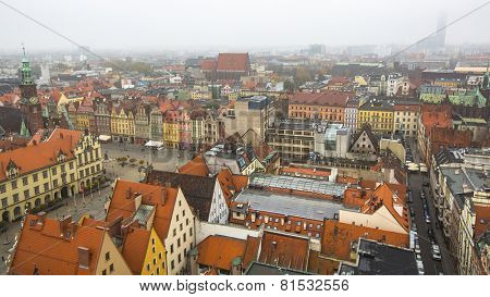 WROCLAW, POLAND - CIRCA NOV, 2014: Top view of Wroclaw old town from the top of the tower of the church of Saint Elizabeth. Wroclaw is going to be European Capital of Culture in 2016.