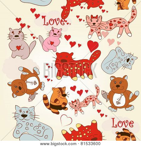 Childish Seamless Pattern With Cute And Funny Cats
