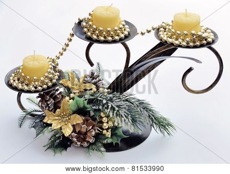 Christmas Triple Candlesticks