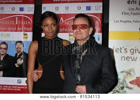 LOS ANGELES - FEB 23:  Naomie Harris, Bono at the LA Italia Opening Night at TCL Chinese 6 Theaters on February 23, 2014 in Los Angeles, CA