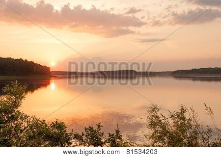 Lake at sunrise