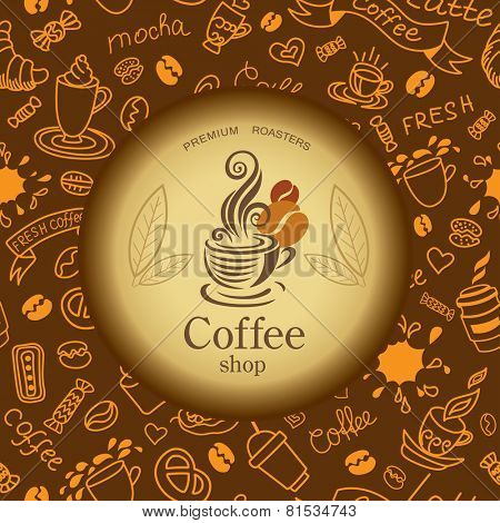 Coffee and tea doodles background. Coffee emblem. Texture with bakery products.