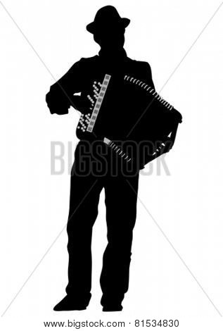 Music man white accordion on white background