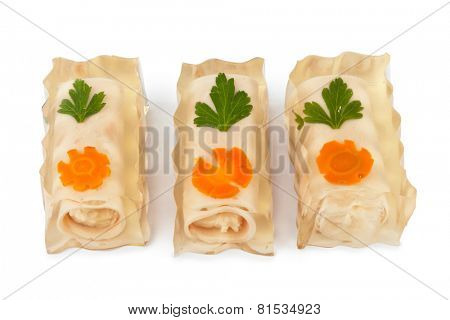 Jellied fish isolated on white background