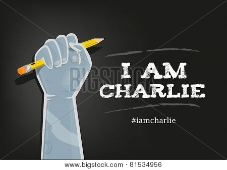 I Am Charlie Slogan in English with elements on Black