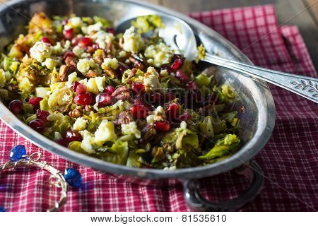 Pomegranite Brussel Spout Salad With Walnuts