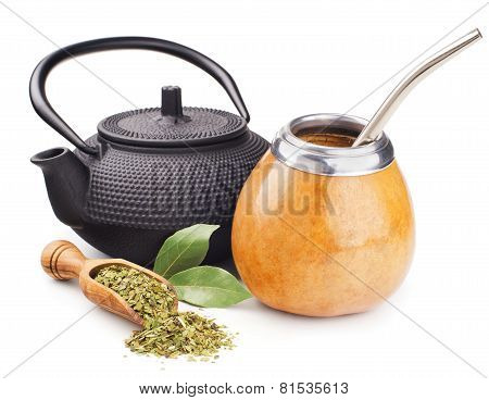 still life with mate yerba and teapot
