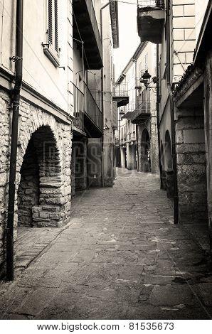 Varzi, old city centre. Black and white photo